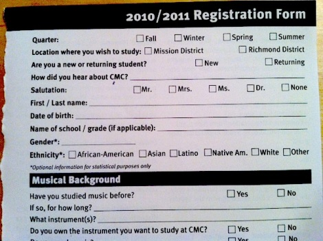 Community Music Center registration form