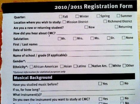 Community Music Center registration form