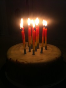 Birthday Rainbow candles are a must. This is not the cake we baked from scratch.