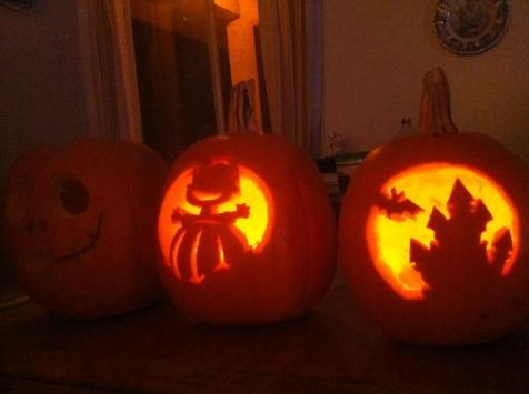 Halloween - three little pumpkins (but we only had two candles)