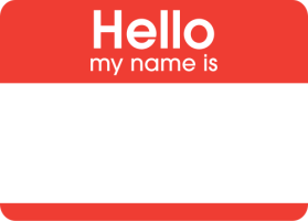 Hello my name is... tag
