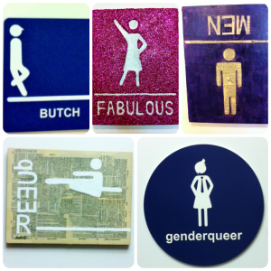 Gender-riffic Bathroom Signs. Artist credit goes to Lauren Quock