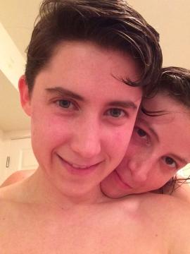 clean copule selfie